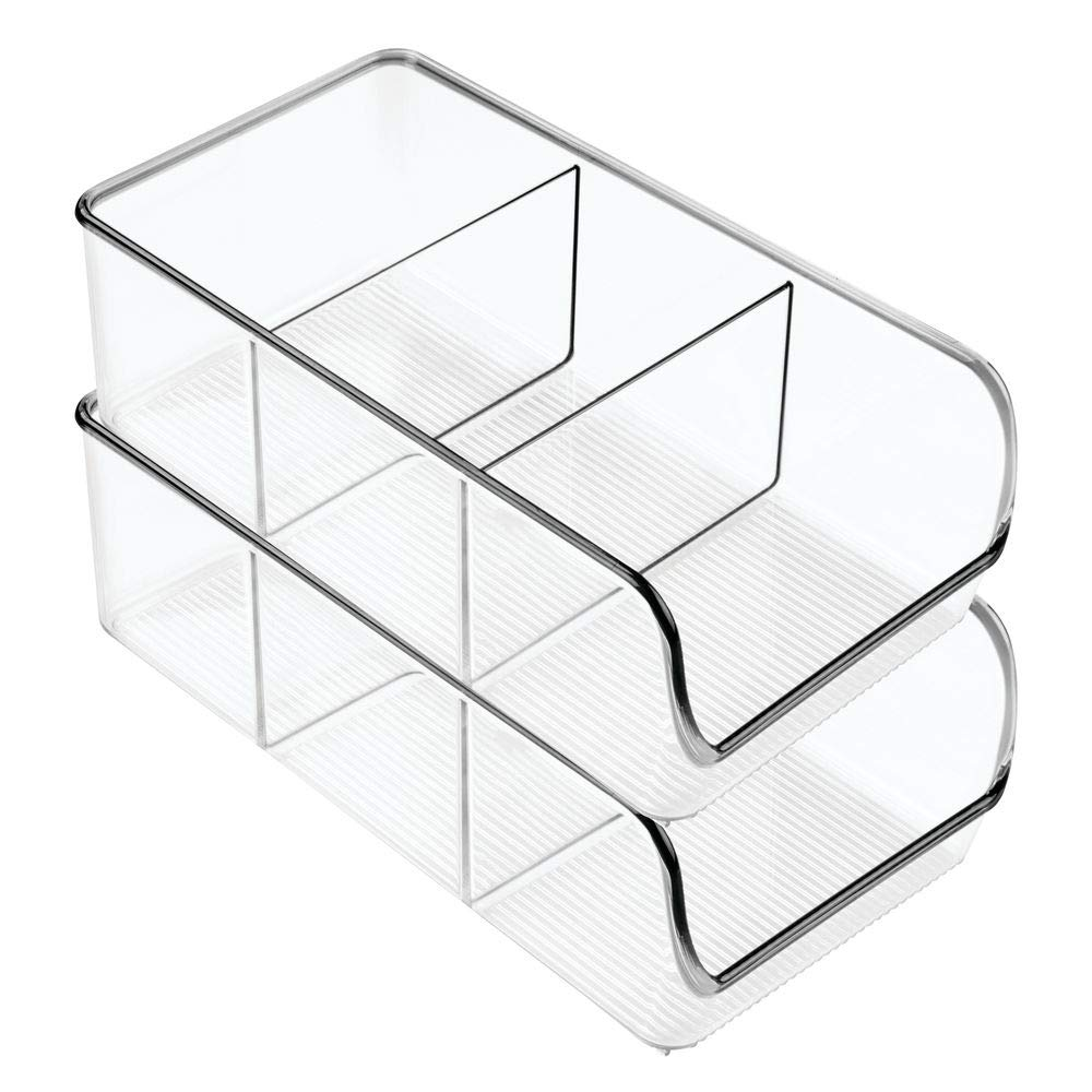 mDesign Plastic Food Packet Kitchen Storage Organizer Bin Caddy - Holds Spice Pouches, Dressing Mixes, Hot Chocolate, Tea, Sugar Packets in Pantry, Cabinets or Countertop - 2 Pack - Clear