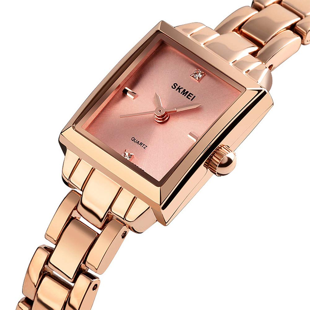 SPORS Business Casual zinc Alloy Ladies Watch, Student Square Fashion Watch, Steel Band Diamond Female Quartz Watch-Rosegold by SPORS