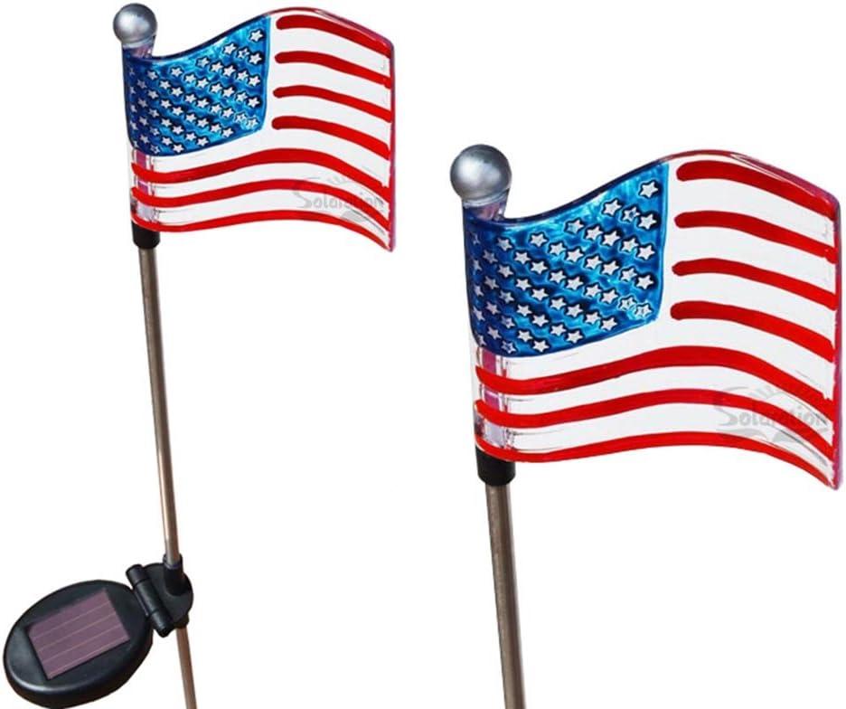 Solar Powered USA Flag Garden Stakes Set of 2 White LED Automatic Dusk to Dawn