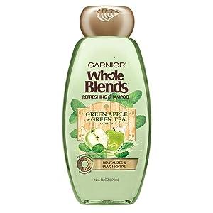 Garnier Whole Blends Shampoo Green Apple/Green Tea 12.5 Ounce (370ml) (3 Pack)