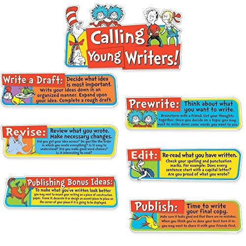 Eureka Back to School Dr  Seuss Motivational Writing Bulletin Board and  Classroom Decorations, 6 5''x0 1''x26'', 7 pc