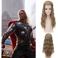 HOOLAZA Dark Linen Long Curly Wavy Wig Avengers Age of Ultron Thor Odinson Cosplay Wig
