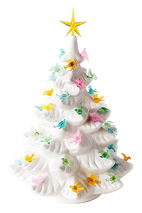 Retro Style Lighted White Tree With Birds