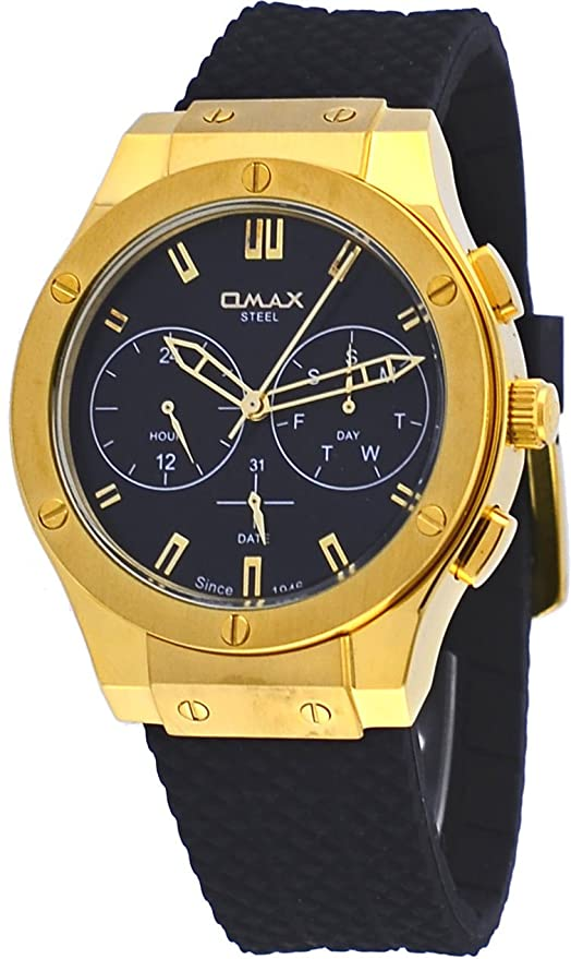 Amazon.com: Omax #14SMG221 Mens Gold Tone Black Dial Silicone Band Multifunction Analog Watch: Watches