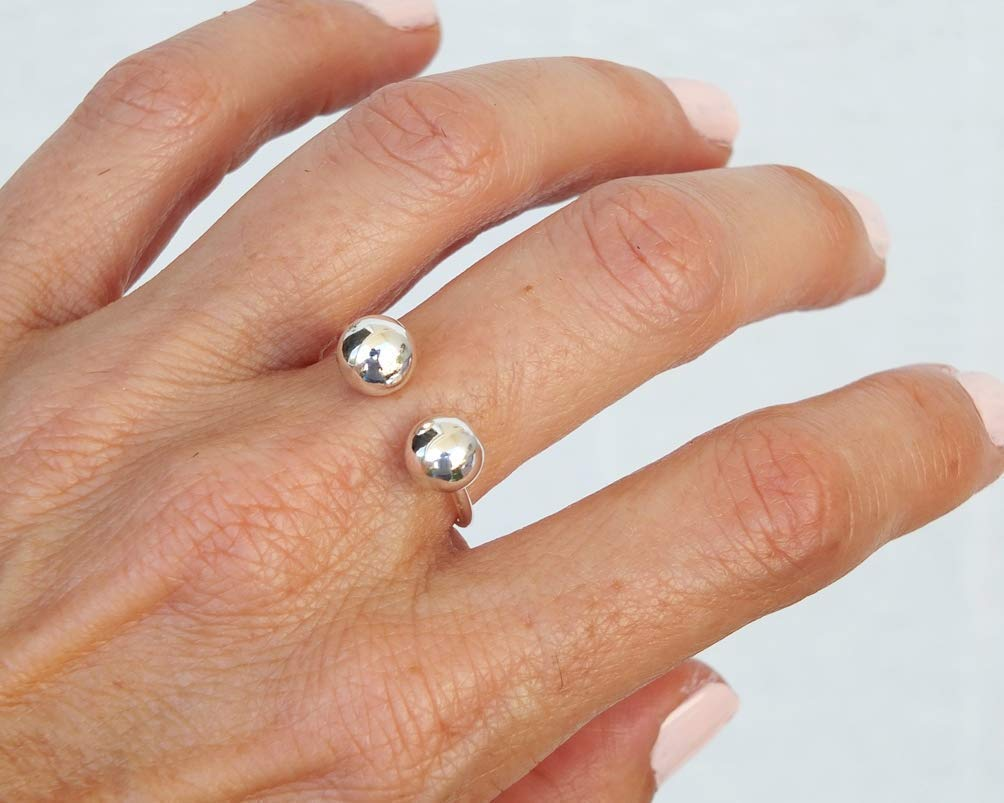 Size 7 Open Ring Handmade Silver Ring 7mm Ball Ring Minimalist