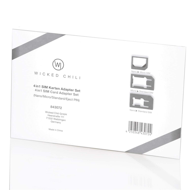 Sim Karten Adapter Schablone.Wicked Chili 4 In 1 Sim Karten Adapter Set Nano Micro Standard Eject Pin Fur Handy Smartphone Und Tablet Passgenau Click Sicherung