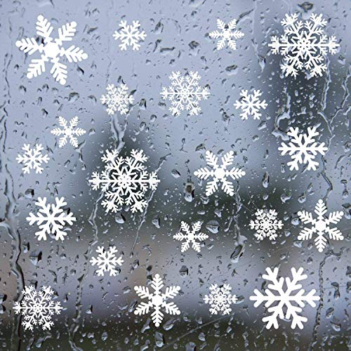 YSBER 140 pcs Snowflake Window Clings Decals - Christmas Glass Static Stickers - for Holiday Winter Decoration Supplies ()