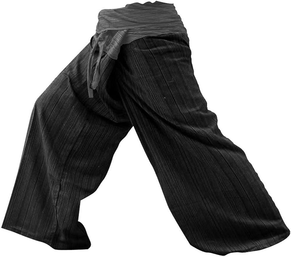 LannaPremium THAICOMPLEX 2 Tone Thai Fisherman Pants Yoga Trousers Free Size Plus Size Cotton