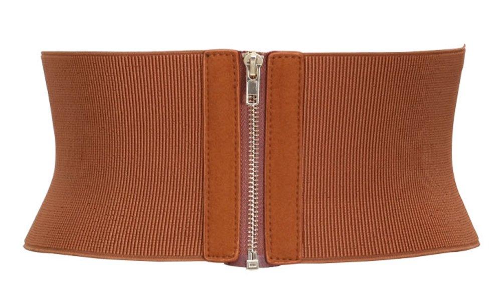 Aecibzo Womens Wide Elastic Stretch Waist Belt Corset Cincher Belt Trimmer Waistband (Fit waist 28.7''-37.4'', Brown)