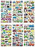 SET036-TRANS214 - 6 Sheets 3D Reusable Dimensional Scrapbook Stickers - (Car, Bus, Airplane, Jet, Sailboat, Train, Marine etc.) - Vehicle Stickers Size 3.5 X 7.5 Inch./sheet