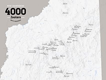 Map Of New England 4000 Footers.Amazon Com Best Maps Ever New Hampshire 4000 Footers Map 18x24
