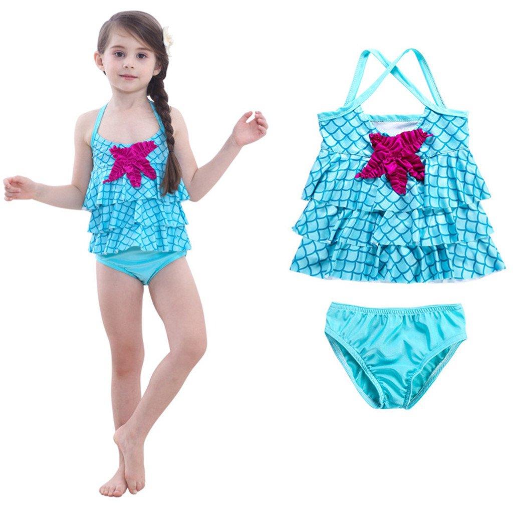 Tsyllyp Little Girls Swimsuit Mermaid Two Piece Tankini Swimwear