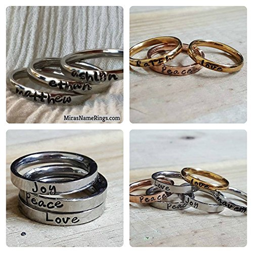 Personalized Stackable Name Ring(s) 3mm - 316 Steel Made to Order