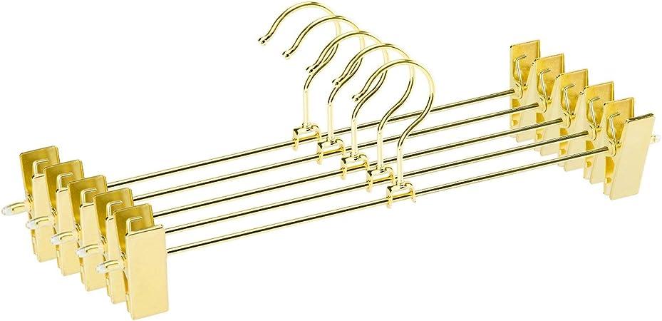 oro Jetdio Pantalones de metal para trabajo pesado Falda Pantalones paquete de 12 pantalones con dos clips ajustables y gancho giratorio de 360 grados perchas
