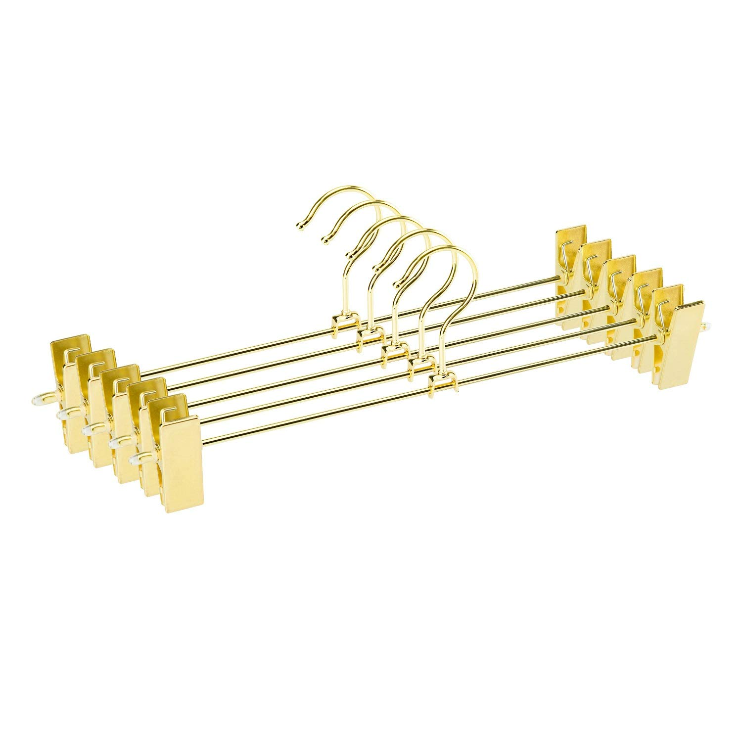 Jetdio Metal Heavy Duty Pants Skirt Slacks Hangers,Trousers Hangers with Two Adjustable Clips and 360-degree Swivel Hook, 12 Pack, Gold by Jetdio