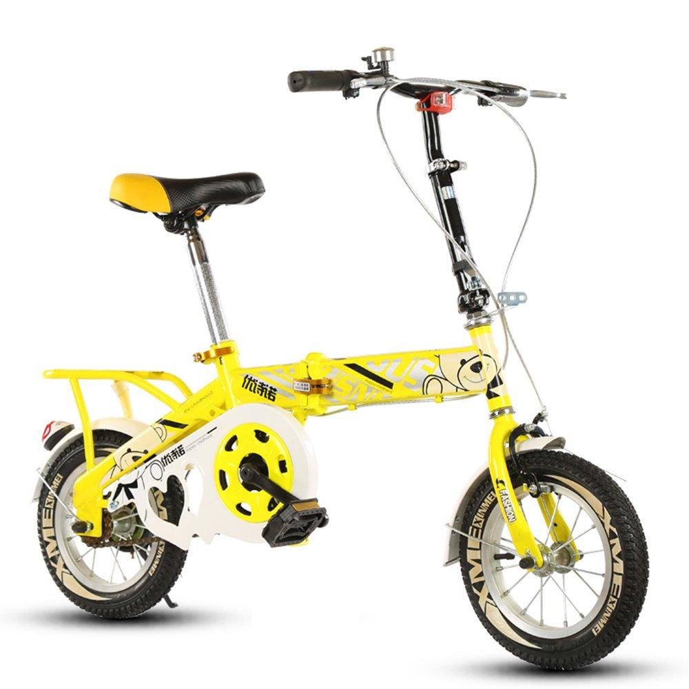 子供の折りたたみ自転車、12-14-16-20インチの男子学生自転車6-8-10-12歳の乳母車 ( 色 : Yellow-A , サイズ さいず : 14 inch ) B07CNBGMSP 14 inch|Yellow-A Yellow-A 14 inch