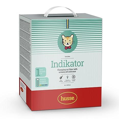 Husse Indikator - Arcilla blanca de bentonita para gato con indicador de pH urinario y control