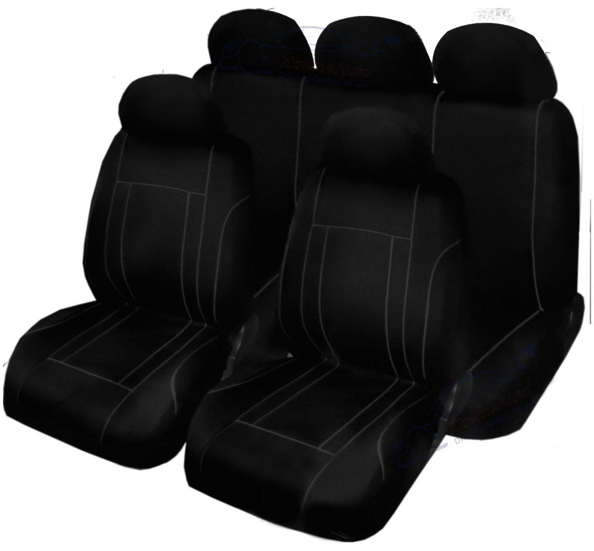 XtremeAuto® BLACK/GREY TRIM, Complete 9 Piece VELOUR Seat Cover Set XtremeAuto®