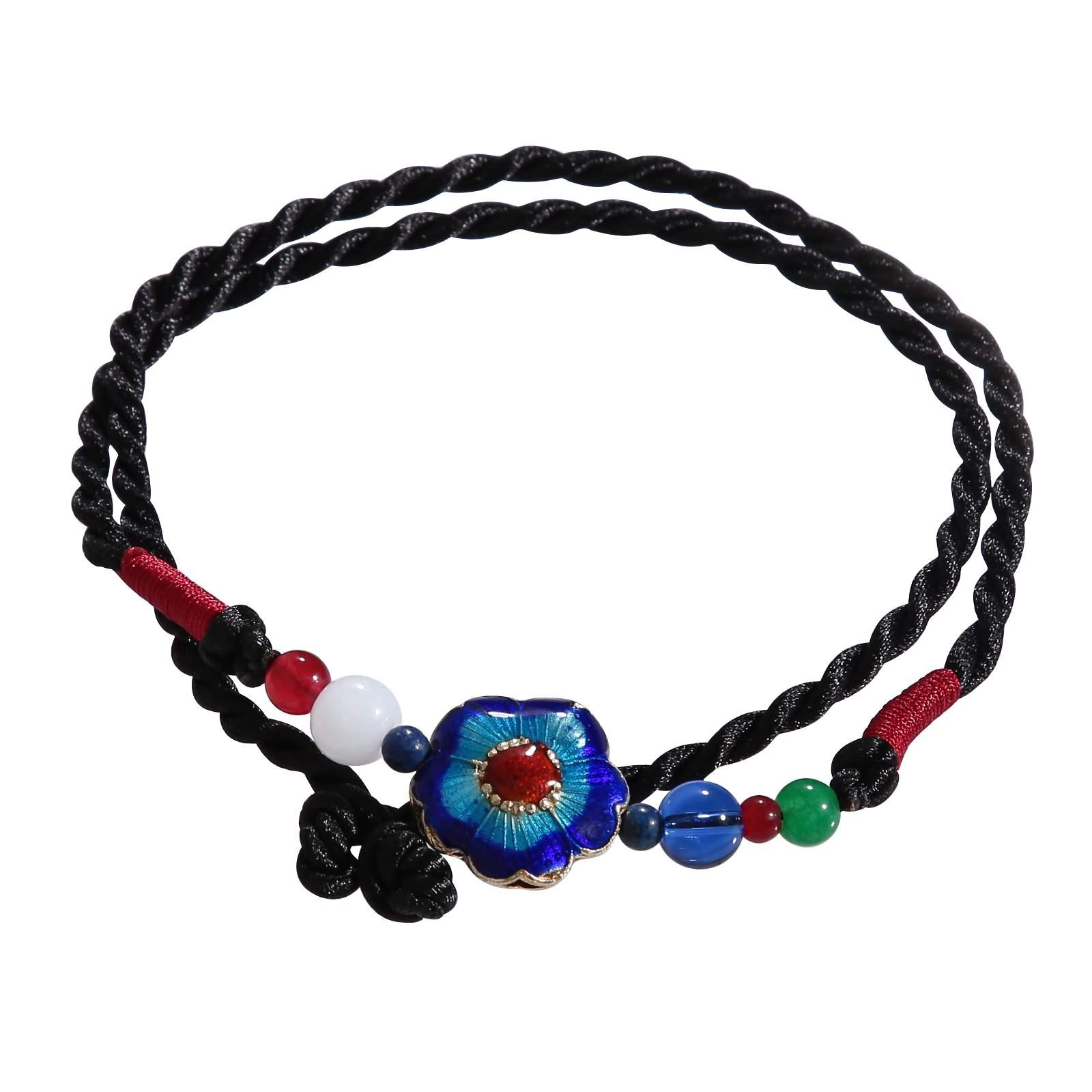 Beydodo Anklets with Colored Stones Foot Bracelet Colorful Braided Rope with Beads
