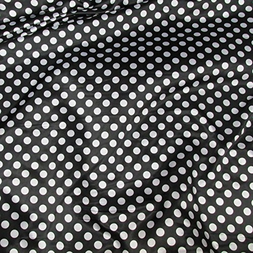 White Polka Dot Satin (Black / White Satin Polka Dot Charmeuse Fabric 58 inches / 60 inches width sold by the yard)
