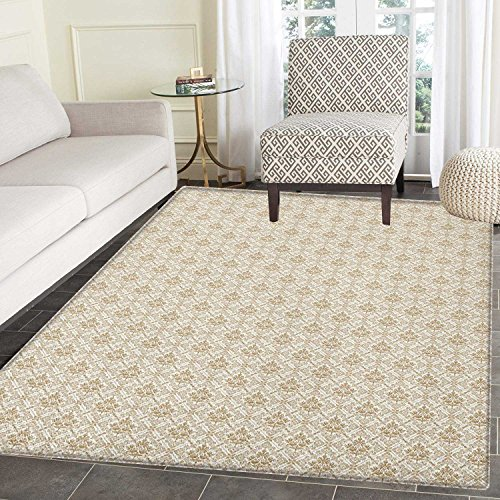 Flower Rug Cocoa (Damask Area Rug Carpet Flower Pattern inside Ornamental Squares Lines Swirls and Other Geometrical Shapes Living Dining Room Bedroom Hallway Office Carpet 3'x4' Ivory Cocoa)