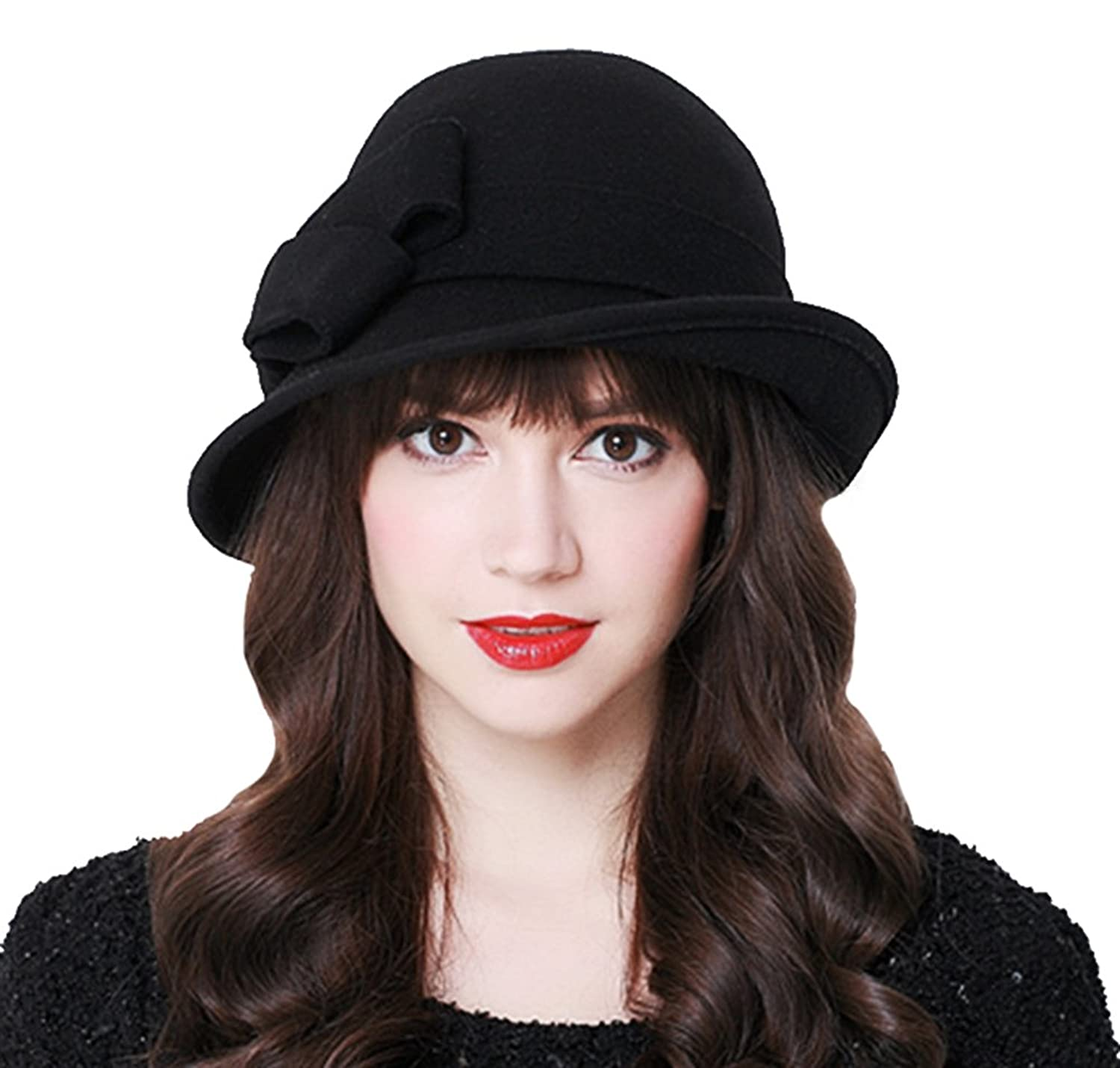 1940s Style Hats Bellady Women Solid Color Winter Hat 100% Wool Cloche Bucket with Bow Accent $21.99 AT vintagedancer.com