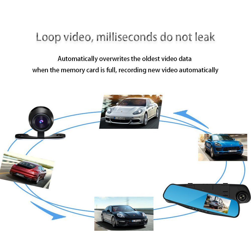 Rear View Reverse Mirror Backup Camera, 1080P Full HD Dash Cam Car Recorder DVR with 4.3 Inch Screen, 120 Degree Wide Angle Lens Vehicle Recorder with G-Senor(PS:without SD card)