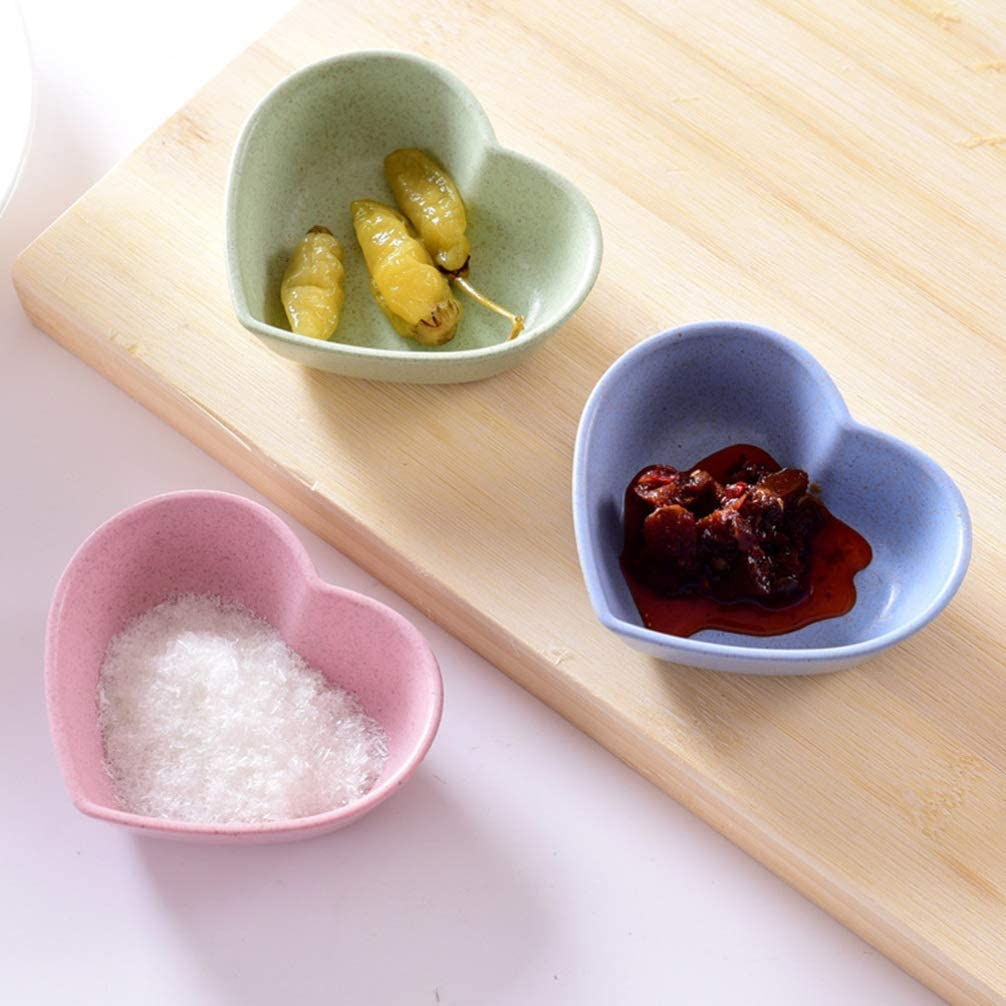 HEMOTON 8pcs Sauce Dish Wheat Straw Dish Bowl Small Seasoning Dishes Sushi Dipping Bowls Fruit Plates Appetizer Serving Plates Dish Saucers Bowl Assorted Color