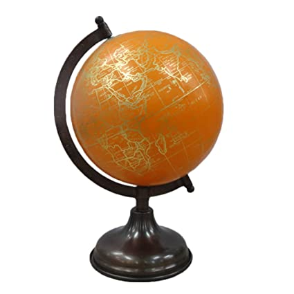 Buy indian decorative world map globe yellow plastic ball round indian decorative world map globe yellow plastic ball round shape 12 tall standing 8 gumiabroncs Gallery
