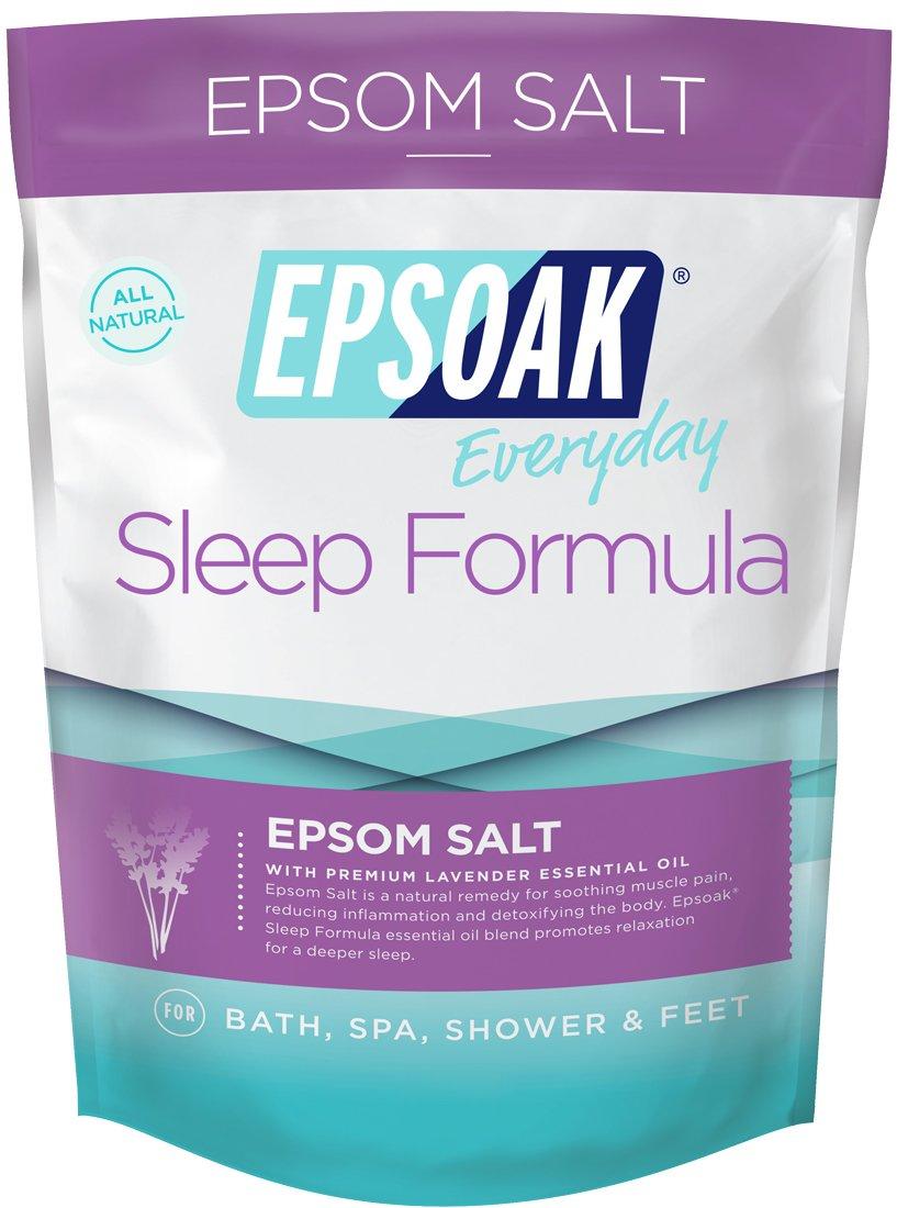 Epsoak Epsom Salt Sleep Formula 2 lbs. - Lavender Bath Salts, Sleep Well & Relax with Epsom Salt & 100% Natural Lavender Essential Oil