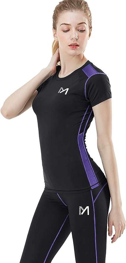 MEETYOO Compression T Shirt Femme, Legging Sport Vetement Fitness Pantalon Maillot Manches Courtes Jogging Base Layer pour Running Yoga Cyclisme