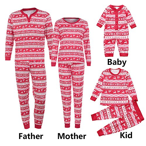 Snowflake Cardigan Baby (SUNBIBEFamily Christmas Pajamas Set Long Sleeves Snowflake Deer Print Sleepwear Nightwear Parent Child Family Matching (0-3M, Baby Romper))
