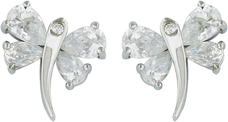 Sterling Silver Rhodium-plated CZ Dragonfly Post Earrings