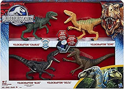 Jurassic World 2015 Toy Set Velociraptor Delta Dinosaur 4 Pack Exclusive