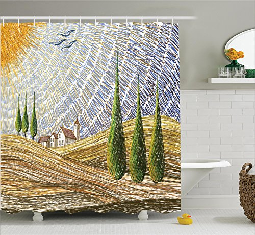 Van Gogh Italian (Tuscan Decor Shower Curtain Set by Ambesonne, Van Gogh Style Italian Valley Rural Fields with European Scenery Digital Painting Artsy Print, Bathroom Accessories, 69W X 70L Inches, Multi)