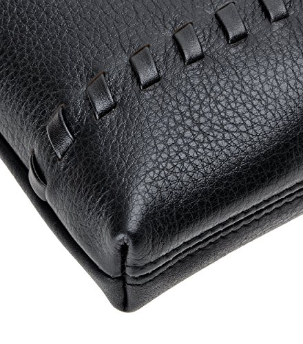 Grain Unisex Leather Medium Zipper ZLYC Wallet Genuine With Removable Black Wristlet Clutch xEwOad