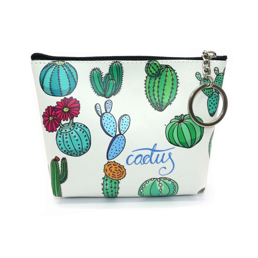 Women Girls Vintage Cute Cartoon Wallet Bag Flower Printed Snacks Coin Purse Change Wallet Pouch Key Holder (F)