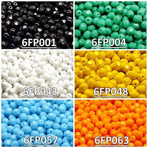 300 beads 6 colors Czech Fire-Polished Glass Beads Round 6mm, Set 607 (6FP001 6FP004 6FP043 6FP048 6FP057 6FP063) ()