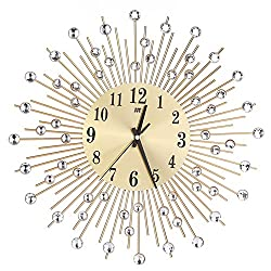 Awakingdemi Luxury Diamond Crystal Leaf Large Wall Clocks Metal Living Room Creative Wall Clock Fashion Silent Wall Watch (G)