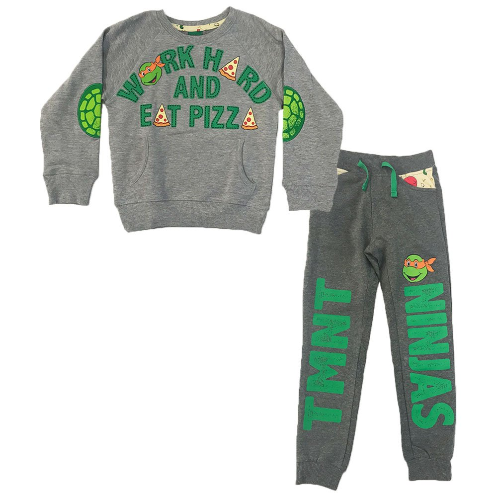 Nickelodeon Toddler Boys TMNT Work Hard and Eat Pizza Jogger Set, Grey, 5T