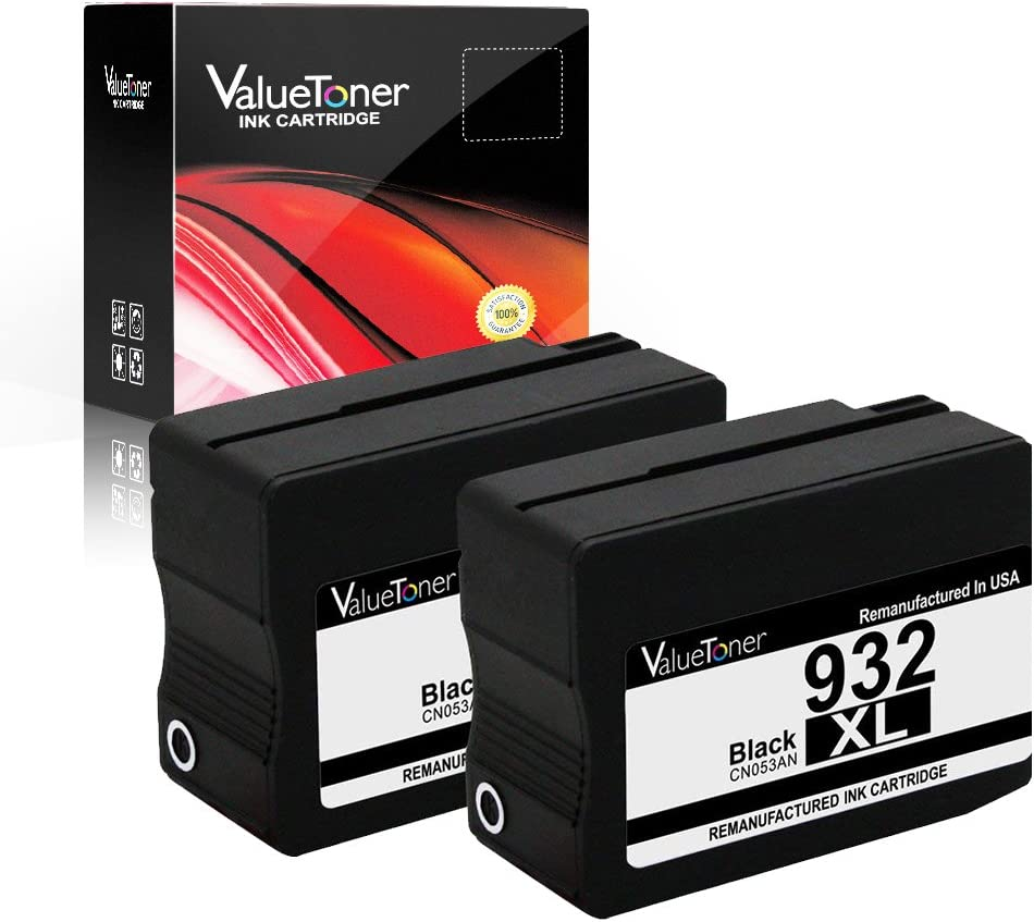 ValueToner Remanufactured Ink Cartridge Replacement for HP 932XL 932(2 Black) for HP Officejet 6600, Officejet 6700, Officejet 7612, Officejet 6100, Officejet 7610, Officejet 7110 Printer