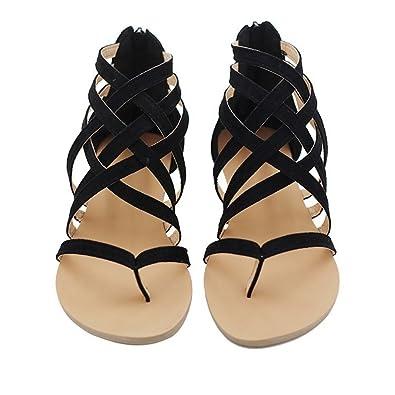 21b986737bb2 Juleya Summer Adult Womens Open Toe Low Flat Heel Hollow Out Sandals Ladies  Zip Back Gladiator