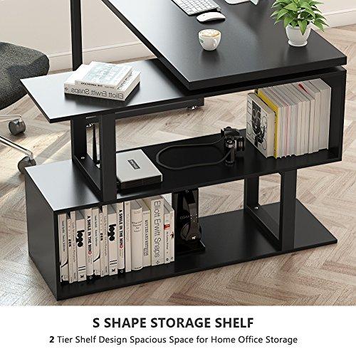 """L Shaped Corner Desk Computer Workstation Home Office: Tribesigns Modern L-Shaped Desk, 55"""" Rotating Desk Corner"""