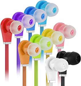 Bulk Earbuds with Microphone - Wholesale 50 Pack Earphones Noodle Headphone with Mic Multi Colored Ear Buds Bulk for School Classroom Students Kids and Adult (50Pack,Mix10color)