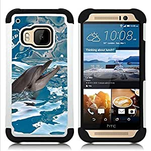 For HTC ONE M9 - Happy Dolphin Water Sea Blue Reflection /[Hybrid 3 en 1 Impacto resistente a prueba de golpes de protecci????n] de silicona y pl????stico Def/ - Super Marley Shop -