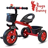 Little Olive Bugs Bunny Baby Tricycle / Kids Trike / Bicycle / Ride On with Safety Harness | Suitable for Boys & Girls - (1 to 4 Years) (Red)