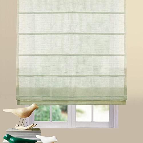 Artdix Roman Shades Blinds Window Shades – Light Green 64 W x 84L Inches 1 Piece Linen Sheer Solid Fabric Custom Made Roman Shades for Windows, Doors, Home, Kitchen, Living Room