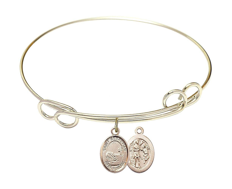 Sebastian//Fishing Charm. DiamondJewelryNY Double Loop Bangle Bracelet with a St