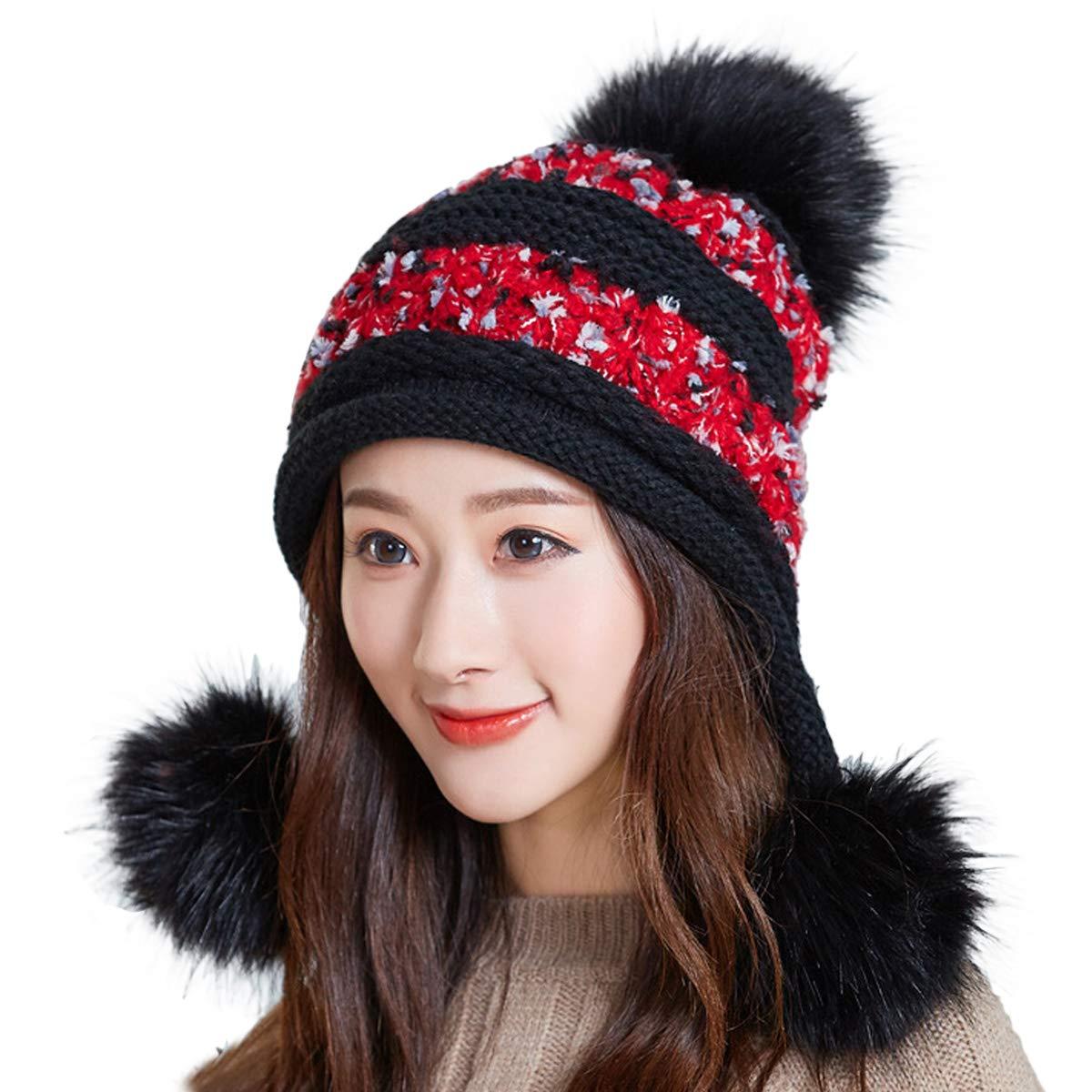 1bc56039b HUAMULAN Women Winter Peruvian Beanie Hat Ski Ear Flaps Cap Dual Layered  Pompoms