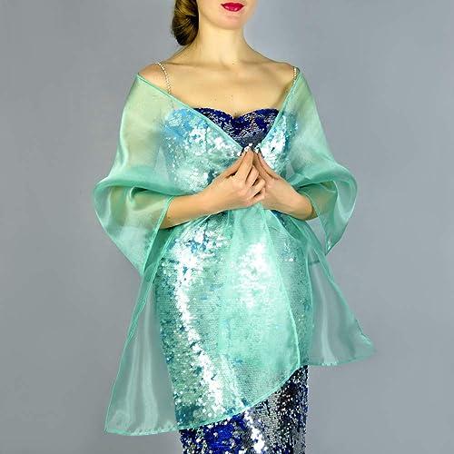 Chal organza color verde turquesa novia boda novia para vestido de fiesta